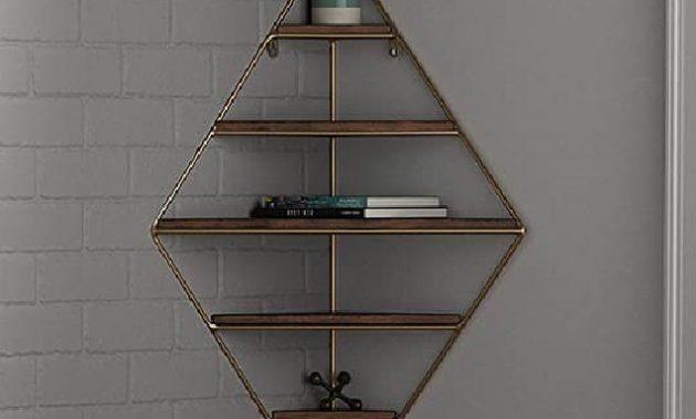 Étagère d'angle à cadre doré unique